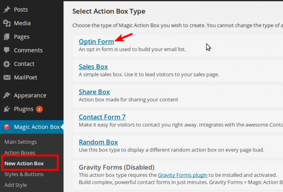 Choose Action Box Type