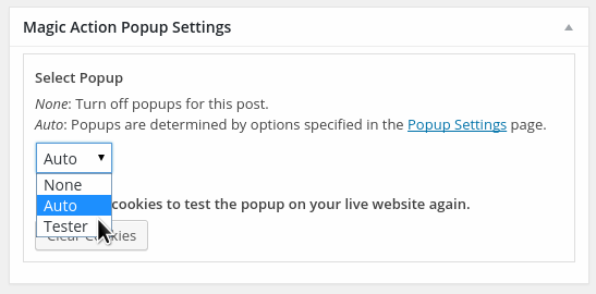 Specific popup for pages