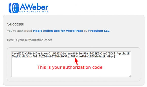 Aweber authorization code